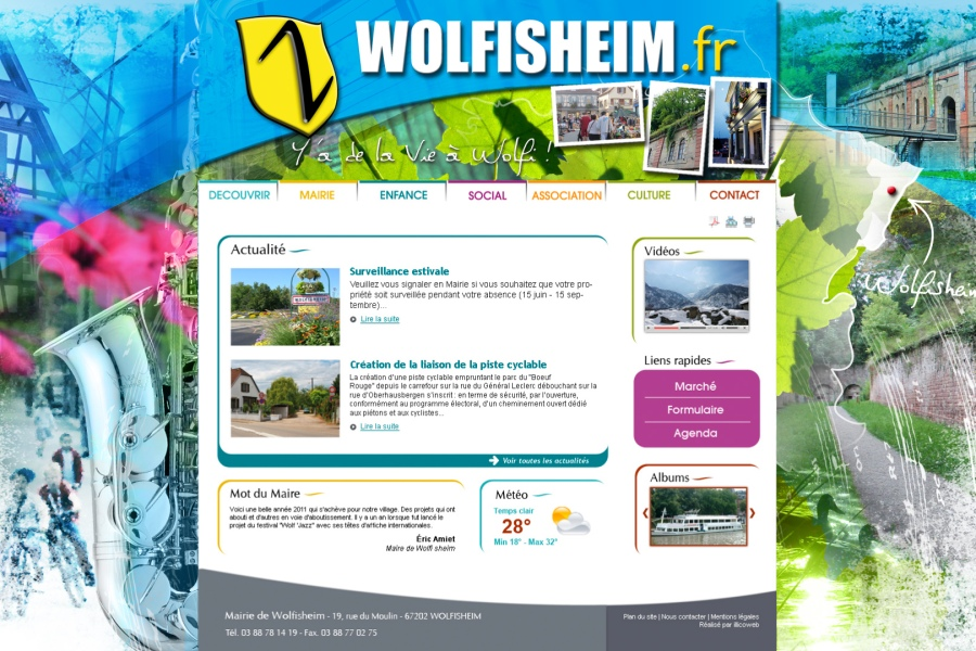 Création du design du site internet de la Mairie de Wolfisheim par l'Agence Cré Home.
