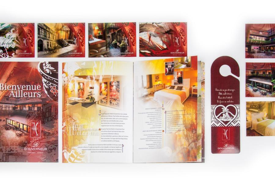 Création et mise en page pour le Gouverneur Hôtel de Obernai par l'Agence Cré Home.
