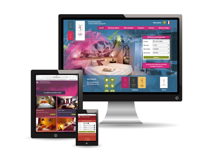 Création et mise en page du Design des sites internet des hôtels du groupe HK par l'Agence Cré Home.