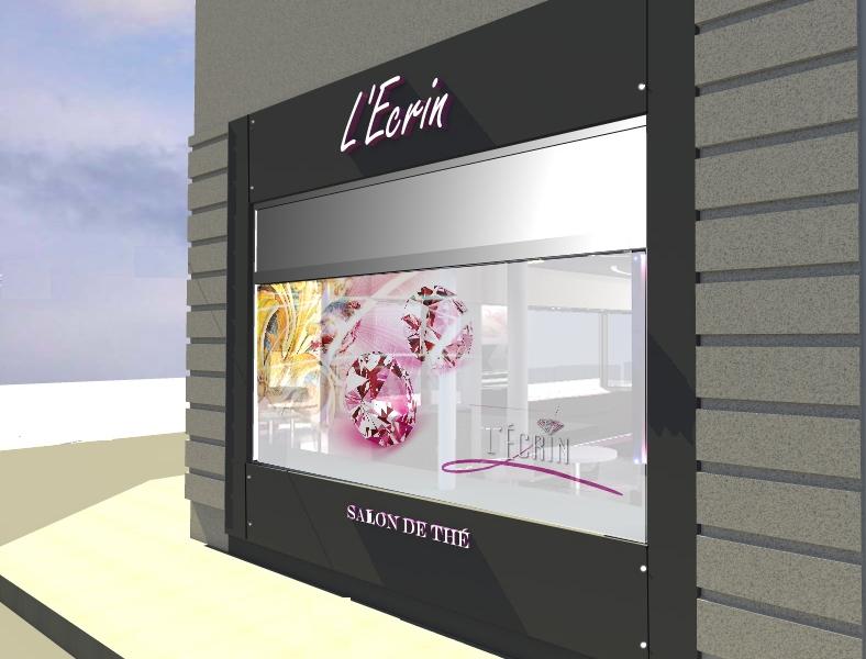 Stores personnalisés pour le Salon de Thé L'Ecrin à Troyes par l'Agence Cré Home.