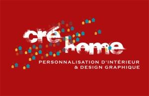 Logo de l'Agence Cré Home fond rouge.