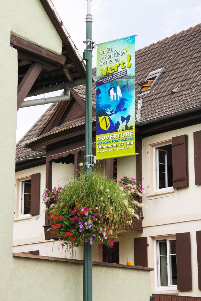 Création et composition de la communication événementiel de l'ouverture du Parc Fort Kléber à Wolfisheim par l'Agence Cré Home.